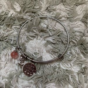 NWOT Silver and Pink Charm Bracelet